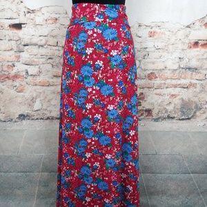 LuLaRoe 3XL Pink Blue Floral Pull On Maxi Skirt